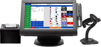 Touchscreen monitor running DragonPOS with barcode scanner and receipt printer